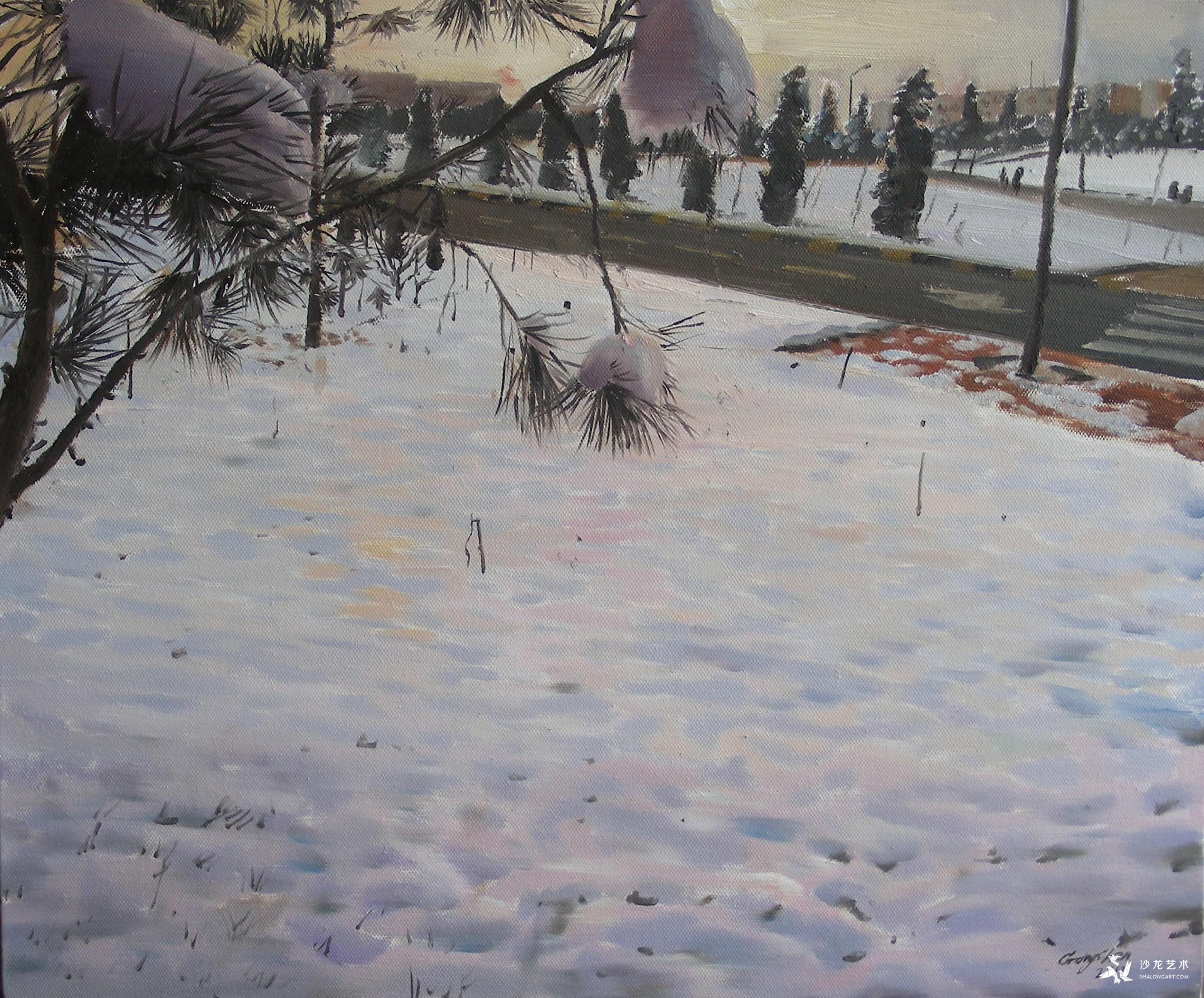 《校园》52X38cm  布面油画.JPG