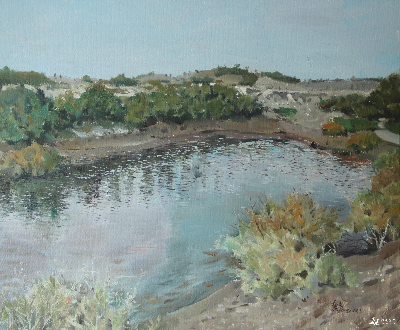 《有水的风景》60X50cm  布面油画.JPG