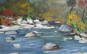 太行山的河 50x60  油画画布