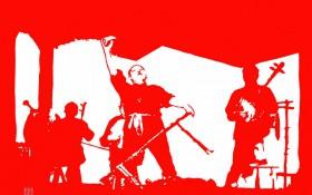 【剪纸作品】《华阴老腔》465mm×350mm 材质:红宣纸