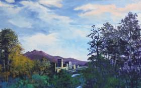 咸阳湖边的晚霞 60x70 油画画布