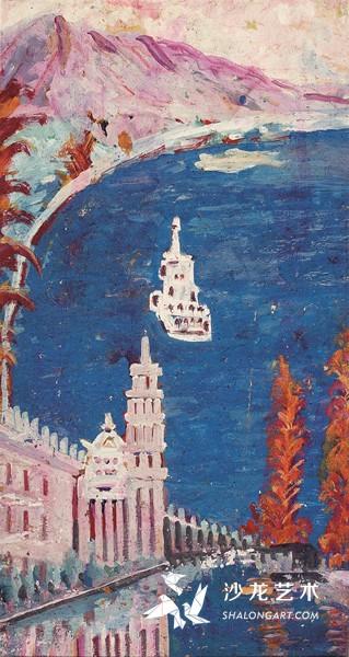 李青萍《吉隆坡港》 纸本油彩 71cm×37cm 1980年代