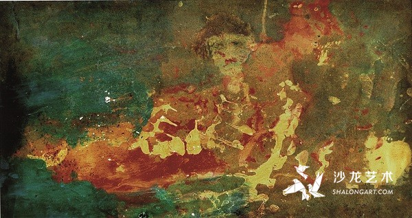 李青萍《静思》 纸板油彩 68.5cm×36cm 1990年代初
