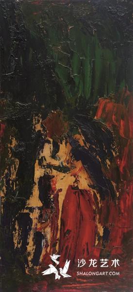 李青萍《婚礼》 木板油画 78.5cm×36.5cm 1990年代初期