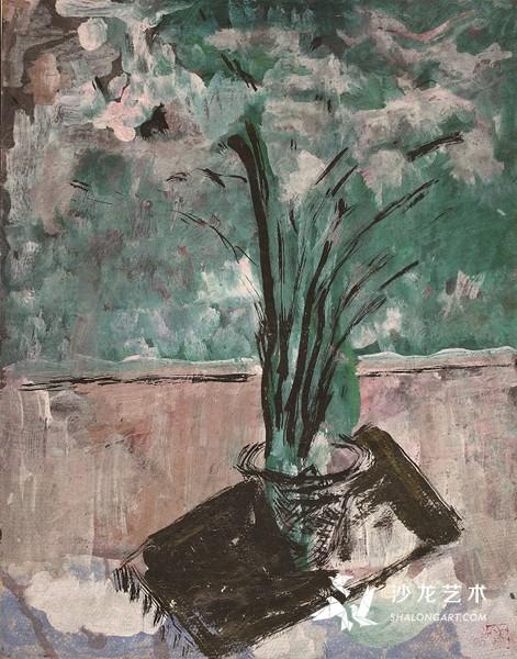 《瓶花》 纸本油彩 48x39cm 1980年代