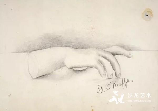 乔治亚·奥基菲,无题(手),1902,15岁时所画。