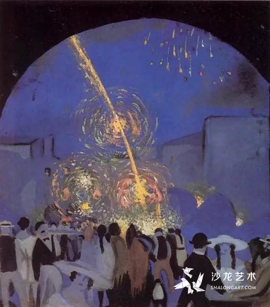 萨尔瓦多·达利,Fiesta in Figueres,1914 - 1916年,10到12岁之间所画。