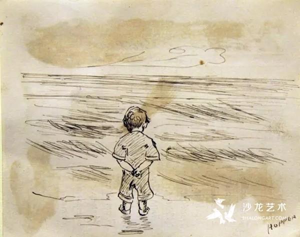 这张作品是爱德华·霍普(Edward Hopper)在1891年10月23日的三年级报告卡背后画的,艺术家当时是9岁