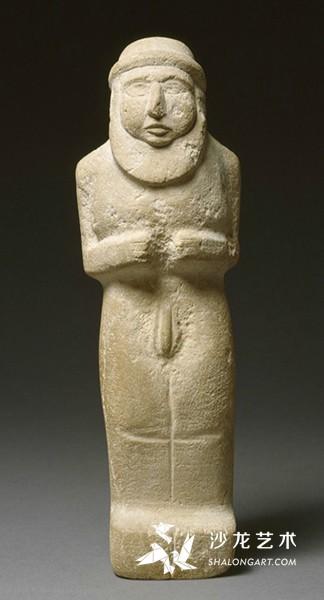 《祭司王像》(Statuette of teh Priest King),前3300年,石灰岩,高30.5厘米,巴黎卢浮宫博物馆