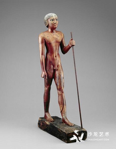 《官吏立像》(Nude figure of the Seal Bearer Tjetji),古埃及第6王朝,约前2321年,木制彩绘,高75厘米,伦敦大英博物馆