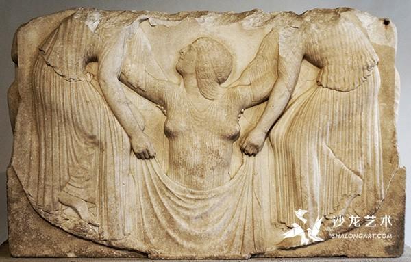 《维纳斯的诞生》(The Birth of Venus)(卢多维西王座正面),约前460年,大理石,140厘米×144厘米,罗马国家博物馆